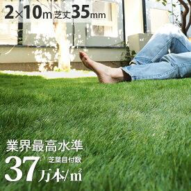 【無料サンプルあり】人工芝 芝丈35mm 固定ピン42本付き ロール ベランダ バルコニー 庭 屋上 テラス マット 新生活<人工芝トレヴ/約2m×10m>