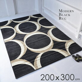 【 送料無料 】 ウィルトン織り ラグ ブラック 黒 シンプル 200X300 インテリア 北欧 モダン ミッドセンチュリー