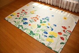 洗える 1.5畳サイズ 春夏ラグ 花柄 ボタニカル シリーズ パステルカラーが可愛い じゅうたん シェニールプリントラグ 約130×190