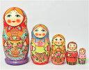 セルギエフ・ポサード マトリョーシカサモワールでティータイム 赤頭巾 イヴァンツォヴァ作 5個組 16cm【マトリョーシカ】