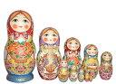 セルギエフ・ポサード産マトリョーシカつやつやタイプ 赤いずきん10個組花かご、サモワール、ピロシキでお茶をする家族のマトリョーシ…