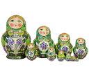 セルギエフ・ポサード マトリョーシカロシアンティータイム サモワールでお茶を豪華なグジェリ グリーン ふっくら10個組 15cmイヴァ…