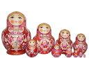セルギエフ・ポサード マトリョーシカロシアンティータイム サモワールでお茶を豪華なグジェリ ピンク ふっくら10個組 15cmイヴァン…