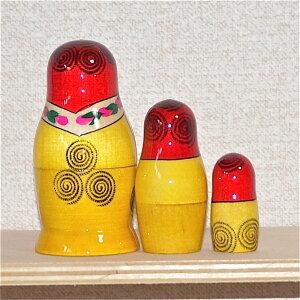 母の日マトリョーシカ「カーネーション」3個組7cm【マトリョーシカ柄】