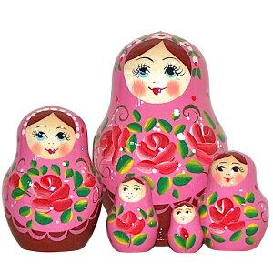 【楽ギフ_包装】花のカチューシャまんまる☆ローズ柄(ピンク)5個組【マトリョーシカ】