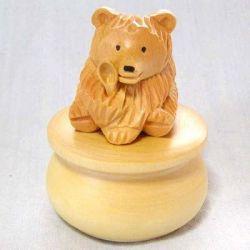 シベリア職人の木彫りシリーズ・小物入れ 「豊穣の太っちょ熊さん」