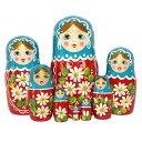 ロシアの人形 カラフルマトリョーシカセルリアンブルー×レッド(マーガレット)19cm 8個組【マトリョーシカ】