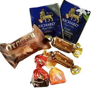 ロシアチョコレート AKKOND アッコンドチョコレート&紅茶のお楽しみ詰め合わせセットチョコ5個&ティーバッグ2個