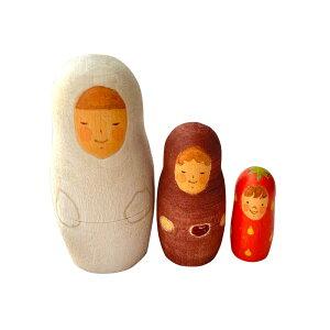 ほんのり、にっこり 稲葉尚子マトリョーシカ「いちご大福姫」6cm 3個組【マトリョーシカ】
