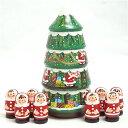 アトリエ juju 「にぎやかクリスマスツリー」16cm 大きなツリーとサンタ8人【マトリョーシカ】