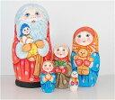 セルゲイ・コブロフ工房「サンタさんマトリョーシカ大サイズ 黄ドレスの人形を持つ」16cm5個組作家 スベトラーナ・カバノヴァ【マトリ…
