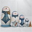 セルゲイ・コブロフ工房木彫りシリーズ「スノーマン」16センチ5個組作家 アリョーシャ・スクリージナ【マトリョーシカ】