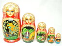 コストロマ マトリョーシカ「ロシア民話 5個組」17cm5個組 スマイリク工房 オリガ作【マトリョーシカ】