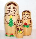 クリスマスリース マトリョーシカ「ナチュラルクリスマス」3人組 11cm【マトリョーシカ】