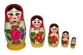 ロシア伝統柄ロシヤーノチカ5個組 (color : レッド)【マトリョーシカ】