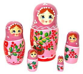 マトリョーシカ 5人姉妹「カリーナ 〜可愛い木の実〜 (PINK)」【マトリョーシカ】