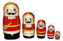 【楽ギフ_包装】くるみ割り人形 マトリョーシカ 5人組(サイズ:大)(coolor:レッド)【マトリョーシカ】