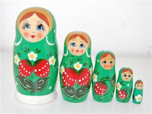 いちごマトリョーシカ5人姉妹「ワイルドストロベリー(GREEN)」【マトリョーシカ】