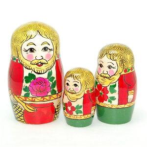 ロシアの妖精ダマボイ3個組10cm【マトリョーシカ】