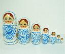 マトリョーシカ 7個組 17cm(グジェリ柄・白×ブルー)カラフルグジェリ柄【マトリョーシカ】