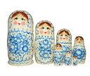 カラフルグジェリ柄マトリョーシカ 7個組 17cm(グジェリ柄・白×ブルー)【マトリョーシカ】