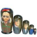ロシア大統領のマトリョーシカ 5個組(10cm)「プーチン大統領 迷彩柄ブルゾン」【マトリョーシカ】