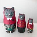T・kottoおしゃれ猫マトリョーシカ*グレー猫11cm 3個組【マトリョーシカ】「再制作不可」