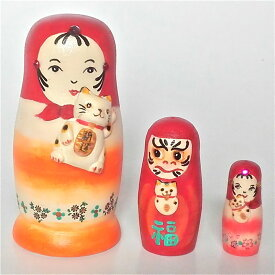 桜小路庵マトリョーシカ「最強!こけしちゃんとだるまさんと招き猫」7cm 3個組【マトリョーシカ】