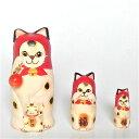 桜小路庵マトリョーシカ「招き猫マトリョーシカ・アゲート」パワーストーン付き 7cm 3個組【マトリョーシカ】