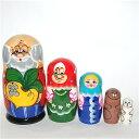ロシアの人形 マトリョーシカ「大きなかぶ」5個組16.5cm【マトリョーシカ】