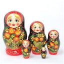 ロシアの人形 マトリョーシカ「いちごのホフロマ柄 黒」5個組15cm【マトリョーシカ】