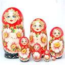 ロシアの民芸品 ビッグサイズ!「大輪のマーガレット」マトリョーシカ 7個組 20cm【マトリョーシカ】