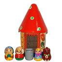 数遊び 指人形と木のおうち「マーシャとくま(赤の屋根)」【マトリョーシカ】