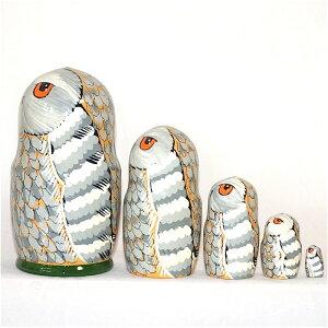 ロシア製白フクロウのマトリョーシカ