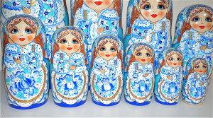 豪華絢爛グジェリドレスの少女マトリョーシカ10個組ビッグサイズ(48cm)【マトリョーシカ】