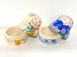 ショコラ工房のマトリョーシカマトリョーシカ型置物シリーズ「FrowerForYou(花をあなたに)」2個セットブルー&ピンク【マトリョーシカ】
