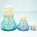 ショコラ工房のマトリョーシカRibbon Dolls(リボンドールズ)ローズリボンのおさげ髪少女のマトリョーシカ3個組【マトリョーシカ】