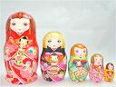 ショコラ工房のマトリョーシカ「KIMONO Dolls - KOKESHI」(キモノドールズ こけし)15センチ5個組タイプ見事な絵柄の着物のマトリョ…