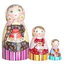 """ショコラ工房のマトリョーシカFlower-Patterned Dress """"Tae & Cake"""" 花柄のドレス(ティー&ケーキ)少女たちのマトリョーシカ14cm 3個…"""