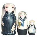 ショコラ工房のマトリョーシカBlack little Lady(黒の淑女)ゴスロリちっくな少女たちのマトリョーシカ11cm 3個組【マトリョーシカ】