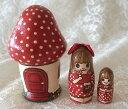 Spilla手作りマトリョーシカ「キノコのお家と女の子」小サイズ3個組 7.5cm【マトリョーシカ】
