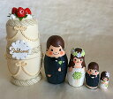 Spilla手作りマトリョーシカ「ウエディングケーキ  ホワイト」中5個組 12cmプレゼントにも最適!【マトリョーシカ】