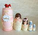 Spilla手作りマトリョーシカ「ウエディングケーキ ピンク」中5個組 12cmプレゼントにも最適!【マトリョーシカ】