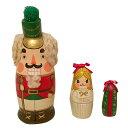 Spillaマトリョーシカ「くるみ割り人形とクララ」(緑帽子)マト小3個組 7cmプレゼントにも最適!【マトリョーシカ】