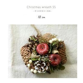 クリスマスリース 12cm メゾンブランシュ Christmas Wreath SS 壁面 飾り 装飾 リビング 室内 玄関 ドア 部屋 壁掛け ディスプレイ ショップ 店舗 天然素材 小ぶり 小さい 小さめ かわいい おしゃれ イベント 12月 冬 季節商品 木枠 置物 りんご 松ぼっくり