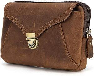 ウエストバッグ 本革 メンズ ウエストポーチ レザー ベルトポーチ ベルトバッグ 携帯バッグ ウエスト鞄 携帯収納 スマホ収納 レトロ 牛革 スマホポーチ