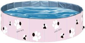 ペット用プール 子供用プール折り畳め式 ポータブルバスグッズ 犬 猫用 子どもの水遊びプールにも PVC製ル ペット高級入浴用品 泳ぎプール (XL(120*30), ピンク)