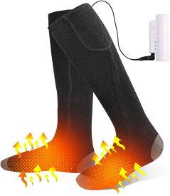 電熱ソックス 電気 ホット 充電式ヒーター付き靴下 加熱 靴下 足元 防寒対策 保温 発熱 暖かいSocks ヒーター 付き バッテリー付き USB 充電式 水洗い可 厚手 冬用 屋外 アウトドアヒートソックス スキー用 紳士用 メンズ レディース
