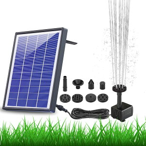 ソーラーポンプ ソーラー噴水ポンプ12v 5w ガーデン用噴水 丸型太陽噴水ポンプ 屋外 太陽光充電 1500mAhバッテリー付き 水面に設置 酸素供給 水循環 内蔵バッテリー ウォーターポンプ ノズル6