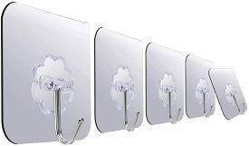 壁掛けフック 透明なフック アップグレード版 フック 粘着 接着力 耐荷重7KG 壁傷つけない 貼り付け跡なし 穴あけ不要 防水 繰り返して使用可能 浴室/台所/玄関/部屋等(透明 30個セット)